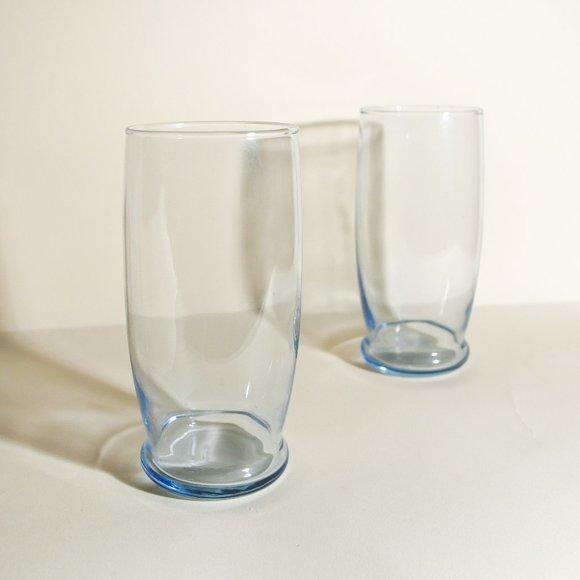 Art Deco Light Blue Bubble Glasses - Pair(2)